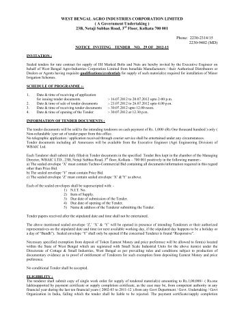 Tender_Notice_NIT29 - West Bengal Agro Industries Corporation ...
