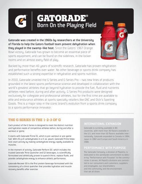 Gatorade Fact Sheet - PepsiCo