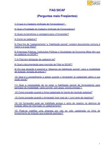 FAQ SICAF (Perguntas mais Freqüentes)