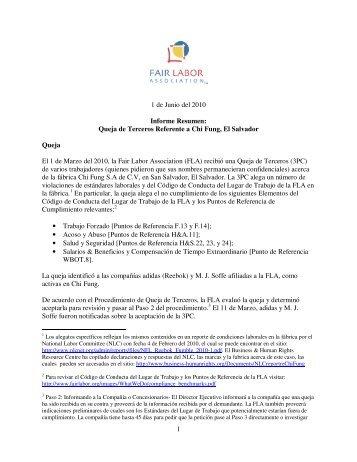 1 1 de Junio del 2010 Informe Resumen: Queja de Terceros ...