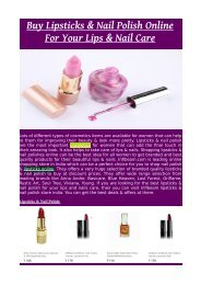 Buy Lipsticks & Nail Polish Online For Your Lips & Nail Care