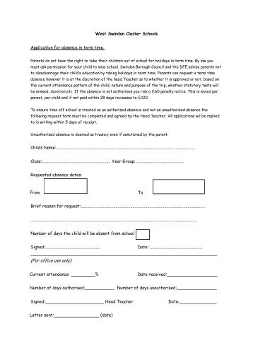 West Swindon Cluster Schools Holiday Request Form - Shaw Ridge