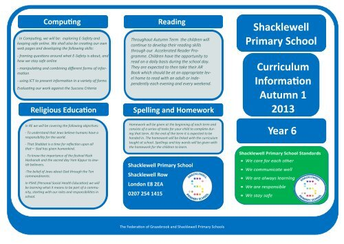 Curriculum Information Leaflet - Year 6 Autumn 1 2013