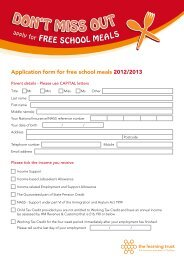 Free School Meals Form - Shacklewell Primary School