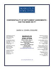 Confidentiality of Settlement Agreements - Margolis Edelstein