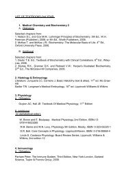 LIST OF TEXTBOOKS-2nd YEAR: - Medical Studies in English
