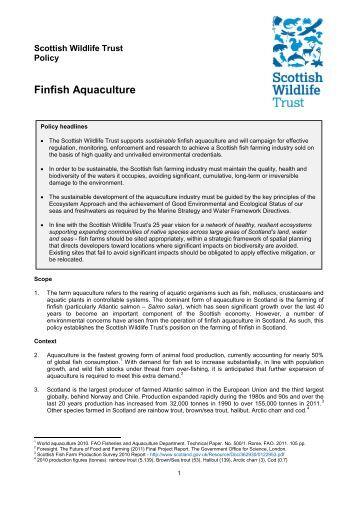 Finfish aquaculture - Scottish Wildlife Trust