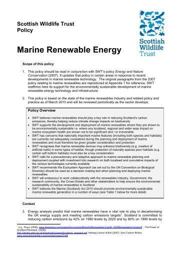 Marine renewables - Scottish Wildlife Trust
