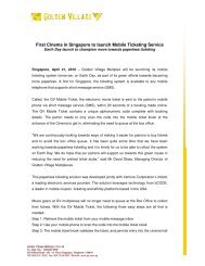 First Cinema in Singapore to launch Mobile ... - Golden Village
