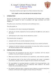Leave of Absence Policy - St. Joseph's Catholic Primary School