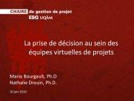 La prise de décision au sein des équipes virtuelles de projets