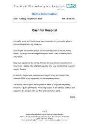 Cash for Hospital - The Royal Wolverhampton Hospitals NHS Trust
