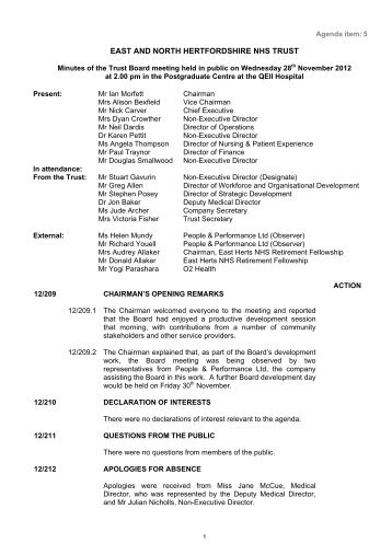Minutes of previous meeting - East and North Herts NHS Trust
