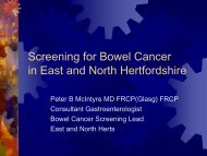Screening for Bowel Cancer in East and North Hertfordshire