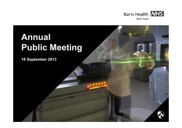 Annual Public Meeting - Barts Health NHS Trust