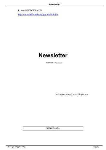 Newsletter - NBDF Rwanda