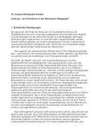 Dr. Gudula Meisterjahn-Knebel Leistung - Montessori Europe