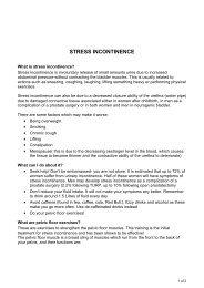 Stress incontinence - Royal Free hospital