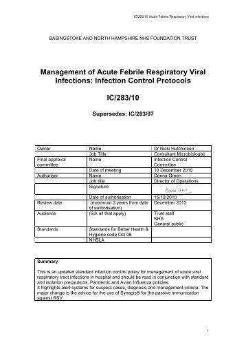 Management of Acute Febrile Respiratory Viral Infections: Infection ...