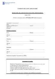 Demande de Subvention 2013 - Ville de Saint-Apollinaire
