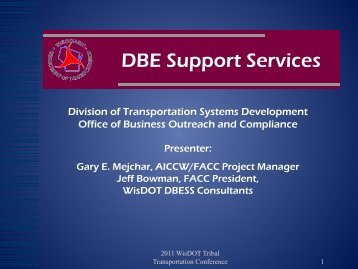DBE Support Services - Michigan Tech Tribal Technical Assistance ...