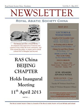 RAS 2013 May Newsletter - Royal Asiatic Society in Shanghai