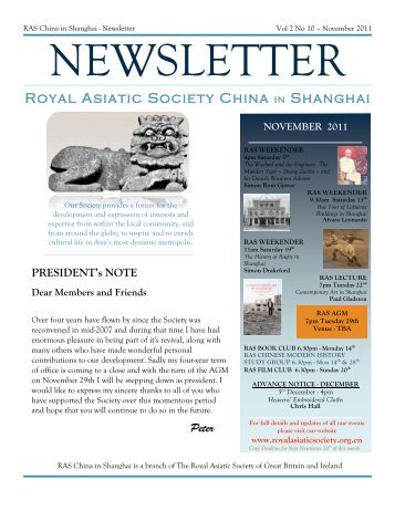 RAS 2011 November Newsletter - Royal Asiatic Society in Shanghai