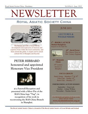 RAS 2013 June Newsletter - Royal Asiatic Society in Shanghai