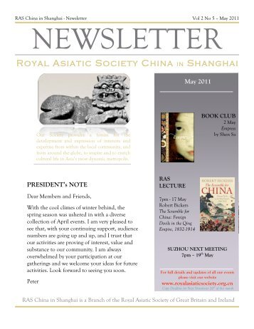 RAS 2011 May Newsletter - Royal Asiatic Society in Shanghai