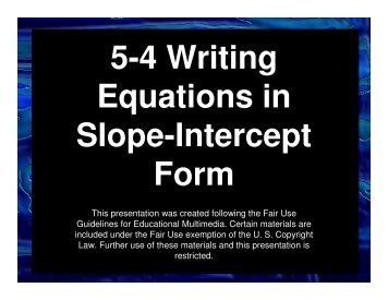 5-4 Writing Equations in Slope-Intercept Form - Mona Shores Blogs