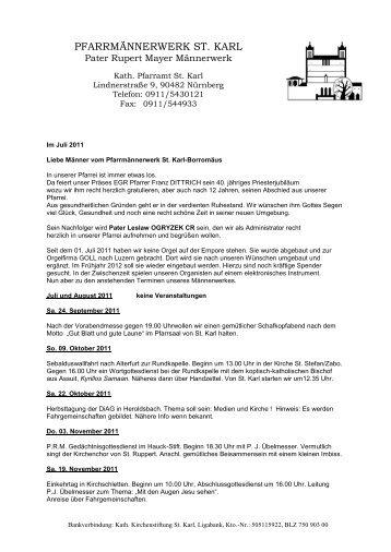 PFARRMÄNNERWERK ST. KARL - Seelsorgebereich St. Karl