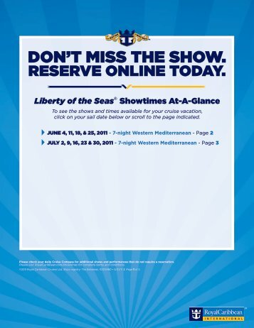 DON'T MISS THE SHOW. - Royal Caribbean Arabia