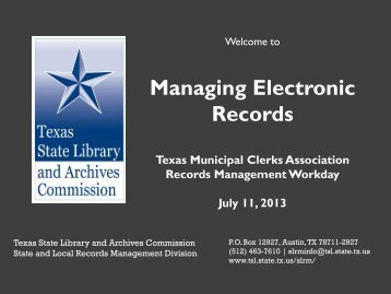 Managing Electronic Records - Next Chapter Meeting
