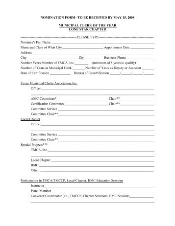 nomination form--to be received by may 15, 2008 municipal clerk of ...