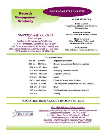 Records Management Workday - Texas Municipal Clerks