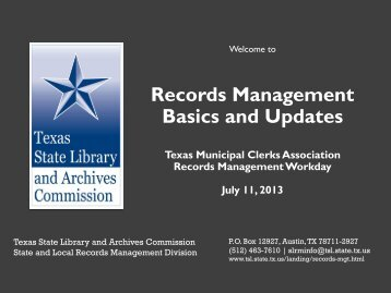 Records Management Basics and Updates - Next Chapter Meeting