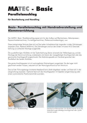 Parallelanschlag mit Handradverstellung und Klemmvorrichtung