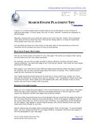 SEARCH ENGINE PLACEMENT TIPS - Worldwide Revenue Solutions