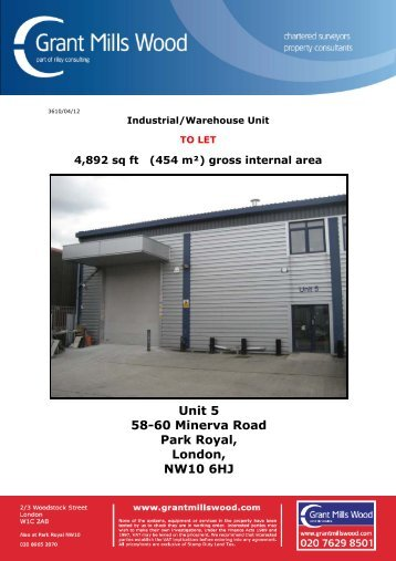 Unit 5 58-60 Minerva Road Park Royal, London ... - Grant Mills Wood