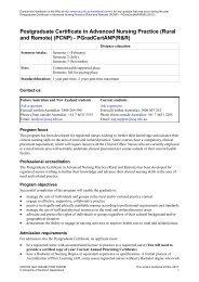 Postgraduate Certificate in Advanced Nursing Practice (Rural and ...