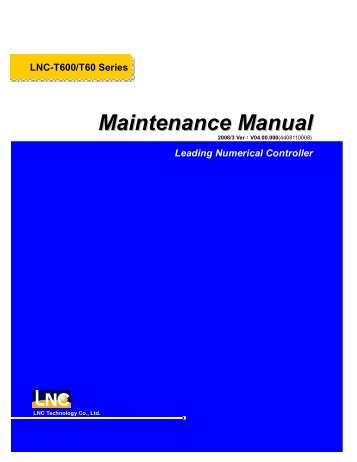 Leading Numerical Controller LNC-T600/T60 Series Maintenance ...