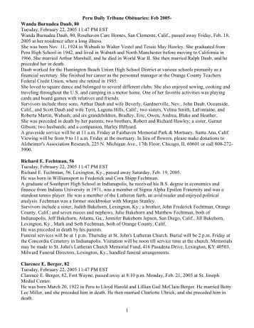 Peru Daily Tribune Obituaries: Feb 2005 - Debby's Web Pages