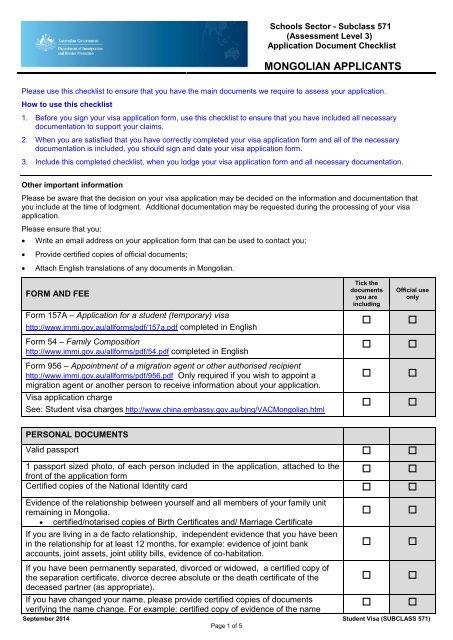 Subclass 571 Australian Embassy China