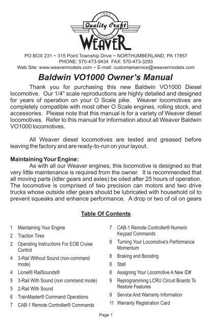 VO1000 Owner's Manual pdf - Weaver Models