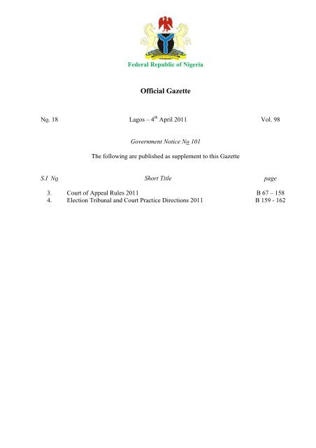 Court Of Appeal Rules 2011