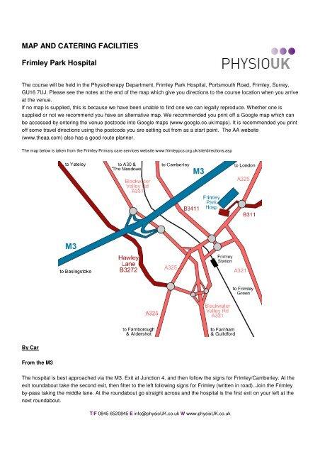 Map Frimley Park Hospital - PhysioUK Training Ltd
