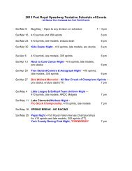 2013 Port Royal Speedway Tentative Schedule of Events