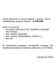 bibliographie palier - Médiathèques de Colombes