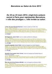 Barcelone au Salon du livre 2013 Du 22 au 23 mars 2013, vingt ...