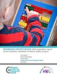 Healthier, Wealthier Children Project - Glasgow Centre for ...